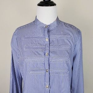 Faconnable Tops - Faconnable Striped Military Style Blue Shirt